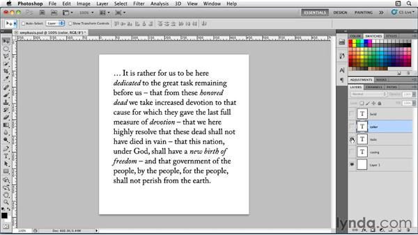 Giving emphasis: Photoshop for Designers: Type Essentials