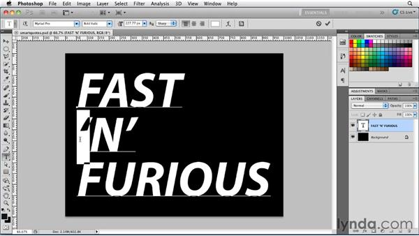 Using smart quotes: Photoshop for Designers: Type Essentials