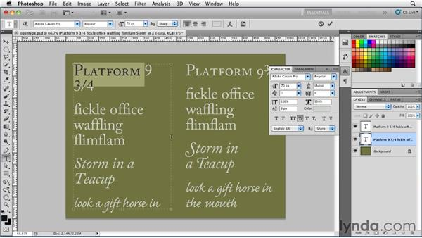 Working with OpenType fonts: Photoshop for Designers: Type Essentials