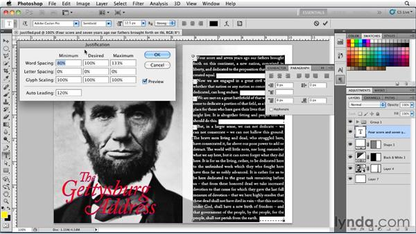 Setting justified paragraph alignment: Photoshop for Designers: Type Essentials