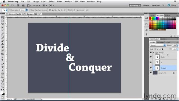 Aligning type on an axis: Photoshop for Designers: Type Essentials
