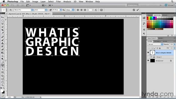 Setting forced justified paragraph alignment : Photoshop for Designers: Type Essentials
