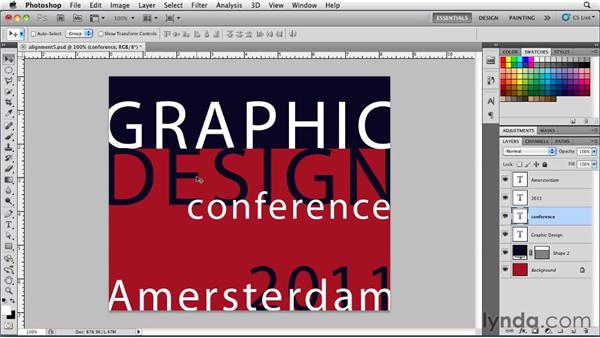 Aligning type with guides and Smart Guides: Photoshop for Designers: Type Essentials