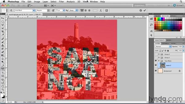 Using type mask tools: Photoshop for Designers: Type Essentials