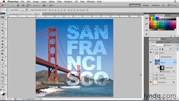 Creating masks from type layers: Photoshop for Designers: Type Essentials