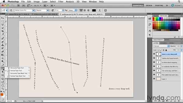 Setting type along a pen path: Photoshop for Designers: Type Essentials