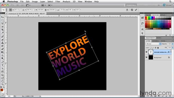 Rotating type with Free Transform: Photoshop for Designers: Type Essentials