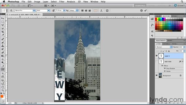 Working with vertical type: Photoshop for Designers: Type Essentials