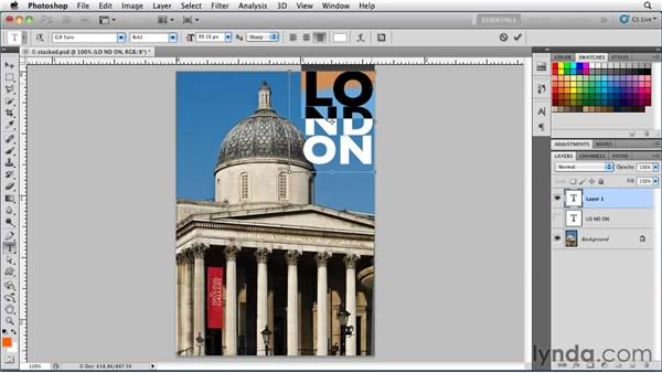 Working with stacked type: Photoshop for Designers: Type Essentials