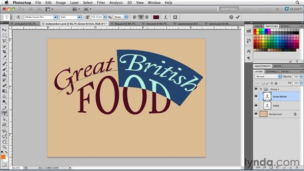 Transforming type using the Warp tool: Photoshop for Designers: Type Essentials