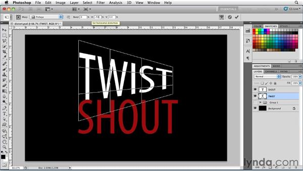 Distorting type: Photoshop for Designers: Type Essentials