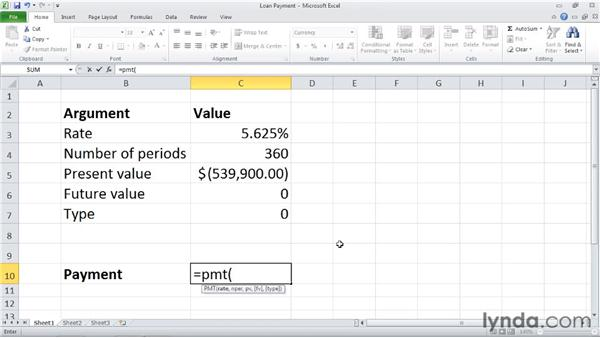 PMT: Calculating a loan payment: Excel 2010: Financial Functions in Depth