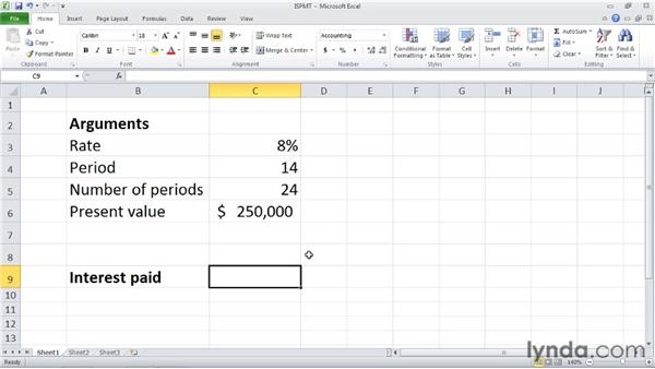 ISPMT: Calculating interest paid during a specific period: Excel 2010: Financial Functions in Depth