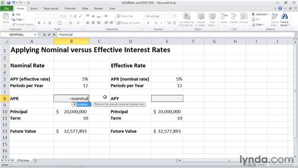 EFFECT and NOMINAL: Finding nominal and effective interest rates: Excel 2010: Financial Functions in Depth