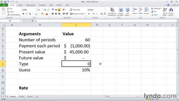 RATE: Discovering the interest rate of an annuity: Excel 2010: Financial Functions in Depth