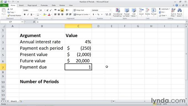 NPER: Calculating the number of periods in an investment: Excel 2010: Financial Functions in Depth