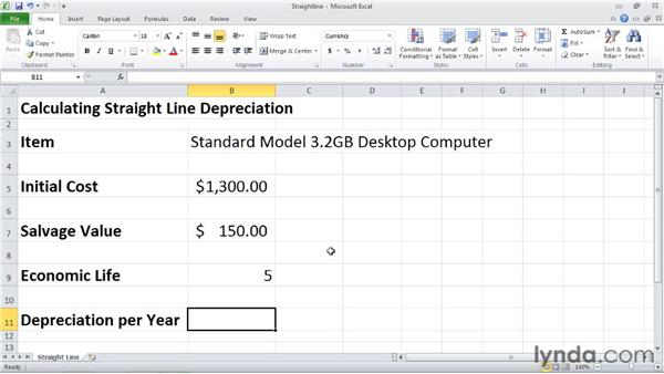 sln  calculating depreciation using the straight