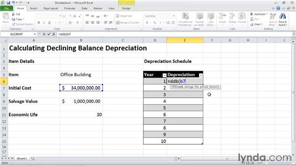DDB: Calculating depreciation using the double-declining balance method: Excel 2010: Financial Functions in Depth