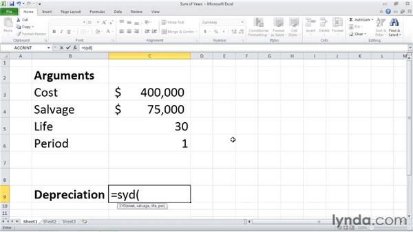 SYD: Calculating depreciation for a specified period: Excel 2010: Financial Functions in Depth