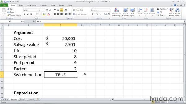 VDB: Calculating declining balance depreciation for a partial period: Excel 2010: Financial Functions in Depth