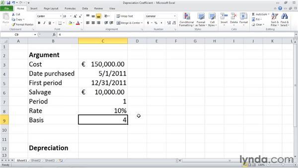 AMORDEGRC: Calculating depreciation using a depreciation coefficient : Excel 2010: Financial Functions in Depth