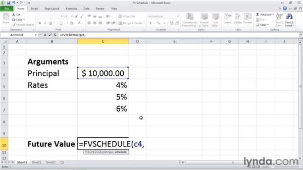 FVSCHEDULE: Calculating the future value of an investment with variable returns: Excel 2010: Financial Functions in Depth