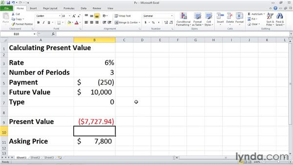 PV: Calculating the present value of an investment: Excel 2010: Financial Functions in Depth