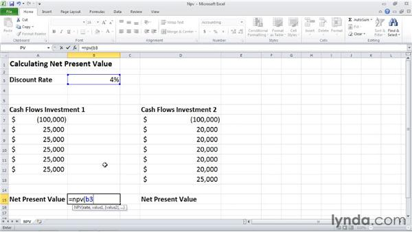 NPV: Calculating the net present value of an investment: Excel 2010: Financial Functions in Depth