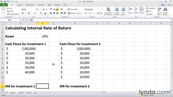 IRR: Calculating internal rate of return: Excel 2010: Financial Functions in Depth