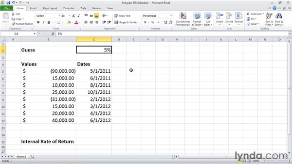 XIRR: Calculating internal rate of return for irregular cash flows: Excel 2010: Financial Functions in Depth