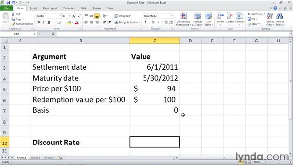 DISC: Calculating the discount rate of a security: Excel 2010: Financial Functions in Depth