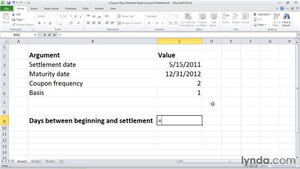 COUPDAYBS: Calculating total days between coupon beginning and settlement: Excel 2010: Financial Functions in Depth