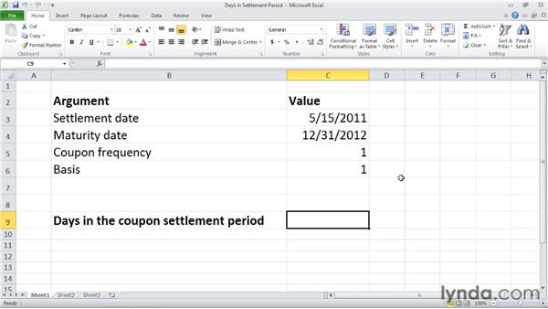 COUPDAYS: Calculating days in the settlement date's coupon period: Excel 2010: Financial Functions in Depth