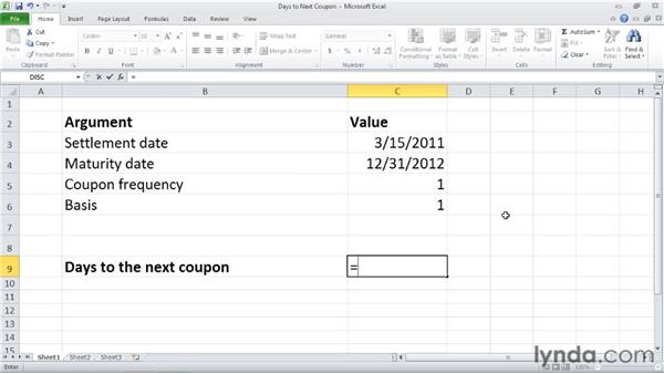 COUPDAYSNC: Calculating days from the settlement date to the next coupon date: Excel 2010: Financial Functions in Depth