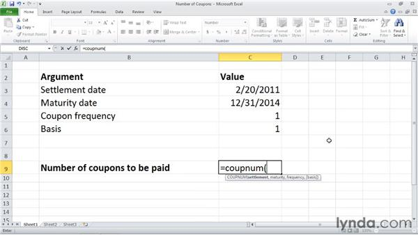 COUPNUM: Calculating the number of coupons between settlement and maturity: Excel 2010: Financial Functions in Depth