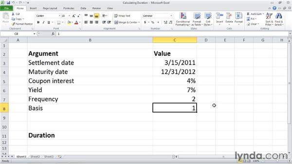 DURATION: Calculating the annual duration of a security: Excel 2010: Financial Functions in Depth