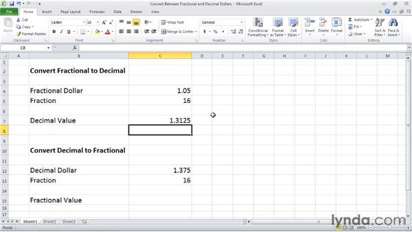 DOLLARDE and DOLLARFR: Converting between fractional prices and decimal prices: Excel 2010: Financial Functions in Depth