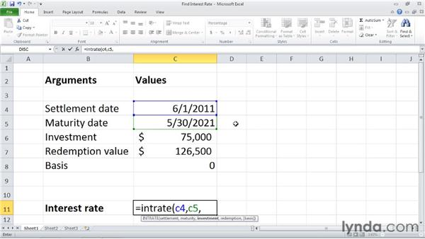 INTRATE: Calculating the interest rate of a fully invested security: Excel 2010: Financial Functions in Depth