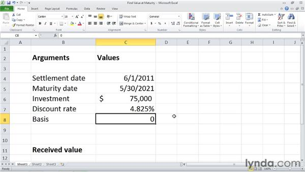 RECEIVED: Calculating the value at maturity of a fully invested security: Excel 2010: Financial Functions in Depth