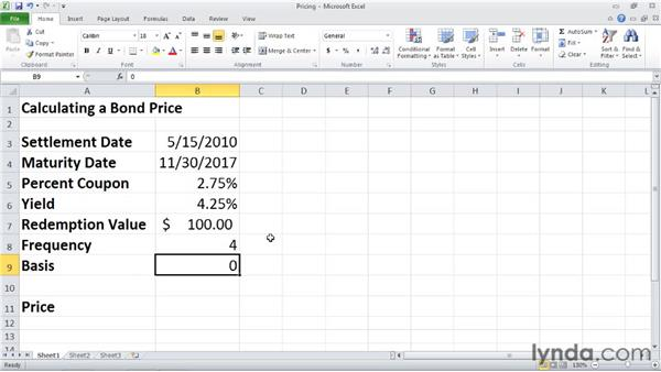 PRICE: Calculating the price of a security that pays periodic interest: Excel 2010: Financial Functions in Depth