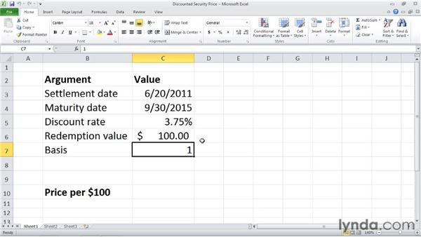 PRICEDISC: Calculating the price of a discounted security: Excel 2010: Financial Functions in Depth