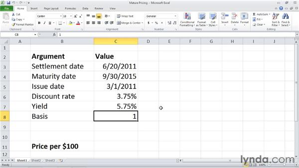 PRICEMAT: Calculating the price of a security that pays interest at maturity: Excel 2010: Financial Functions in Depth