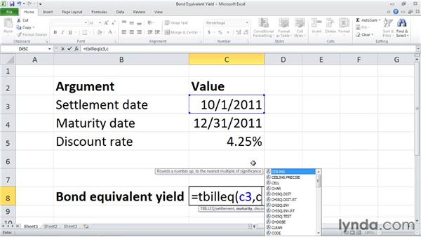 TBILLEQ: Calculating the bond-equivalent yield for a Treasury bill: Excel 2010: Financial Functions in Depth