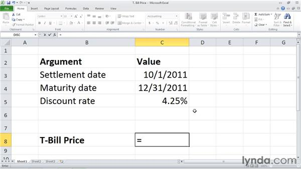 TBILLPRICE: Calculating the price for a Treasury bill: Excel 2010: Financial Functions in Depth