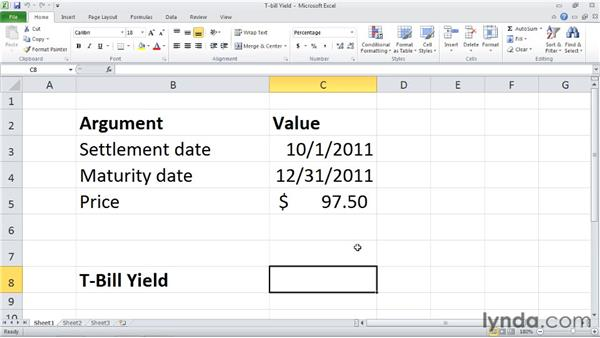 TBILLYIELD: Calculating the yield of a Treasury bill: Excel 2010: Financial Functions in Depth