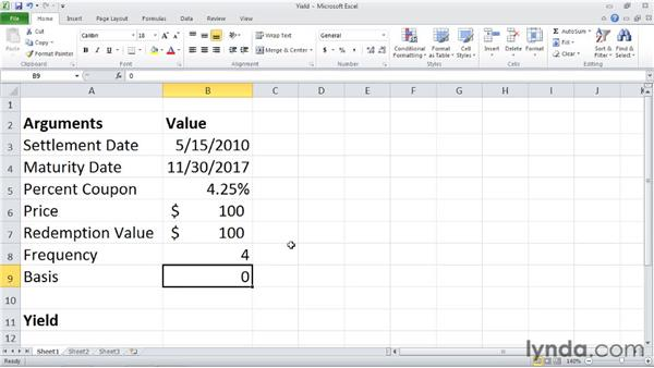 YIELD: Calculating the yield of a security that pays periodic interest: Excel 2010: Financial Functions in Depth
