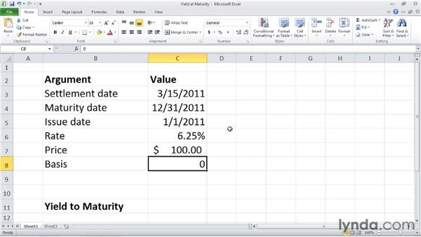 YIELDMAT: Calculating the annual yield of a security that pays interest at maturity: Excel 2010: Financial Functions in Depth