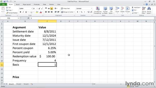 ODDFPRICE: Calculating the price of a security with an odd first period: Excel 2010: Financial Functions in Depth