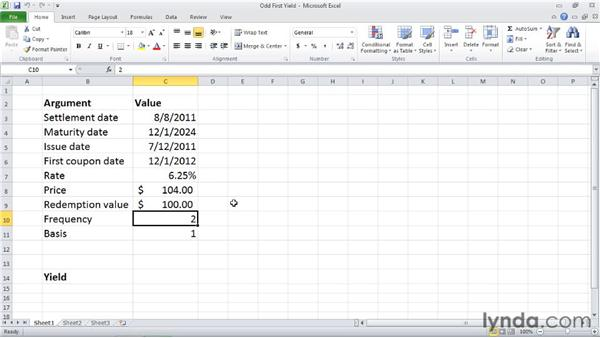 ODDFYIELD: Calculating the yield of a security with an odd first period: Excel 2010: Financial Functions in Depth