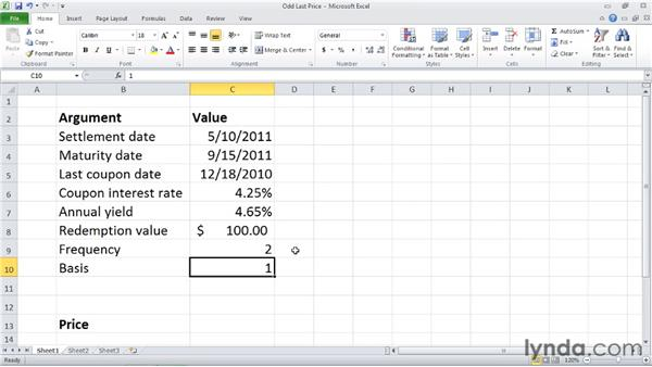 ODDLPRICE: Calculating the price of a security with an odd last period: Excel 2010: Financial Functions in Depth